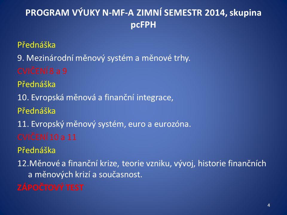 PROGRAM VÝUKY N-MF-A ZIMNÍ SEMESTR 2014, skupina pcFPH Přednáška 9. Mezinárodní měnový systém a měnové trhy. CVIČENÍ 8 a 9 Přednáška 10. Evropská měno