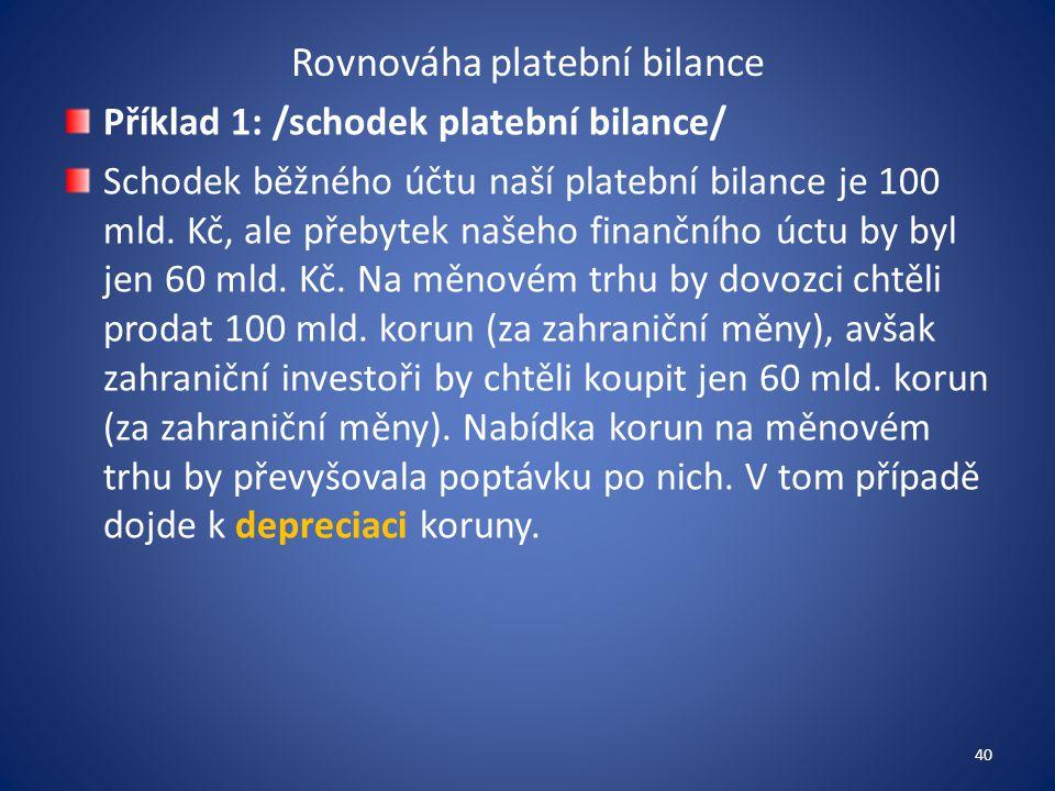 Rovnováha platební bilance Příklad 1: /schodek platební bilance/ Schodek běžného účtu naší platební bilance je 100 mld. Kč, ale přebytek našeho finanč