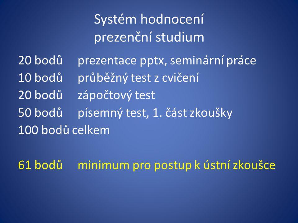 Systém hodnocení prezenční studium 20 bodůprezentace pptx, seminární práce 10 bodůprůběžný test z cvičení 20 bodůzápočtový test 50 bodůpísemný test, 1
