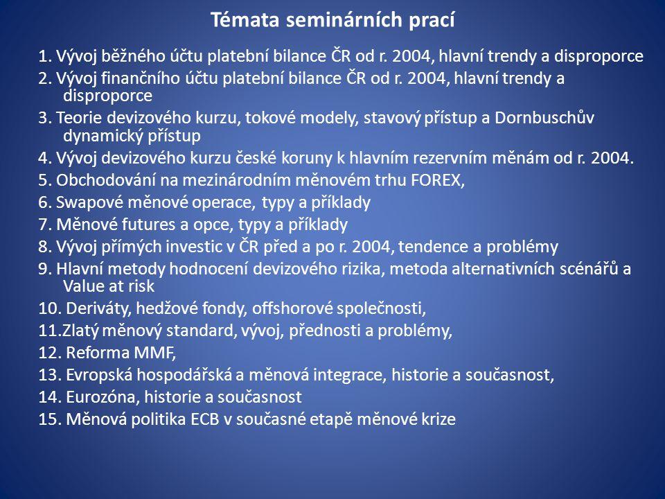 Témata seminárních prací 1. Vývoj běžného účtu platební bilance ČR od r. 2004, hlavní trendy a disproporce 2. Vývoj finančního účtu platební bilance Č