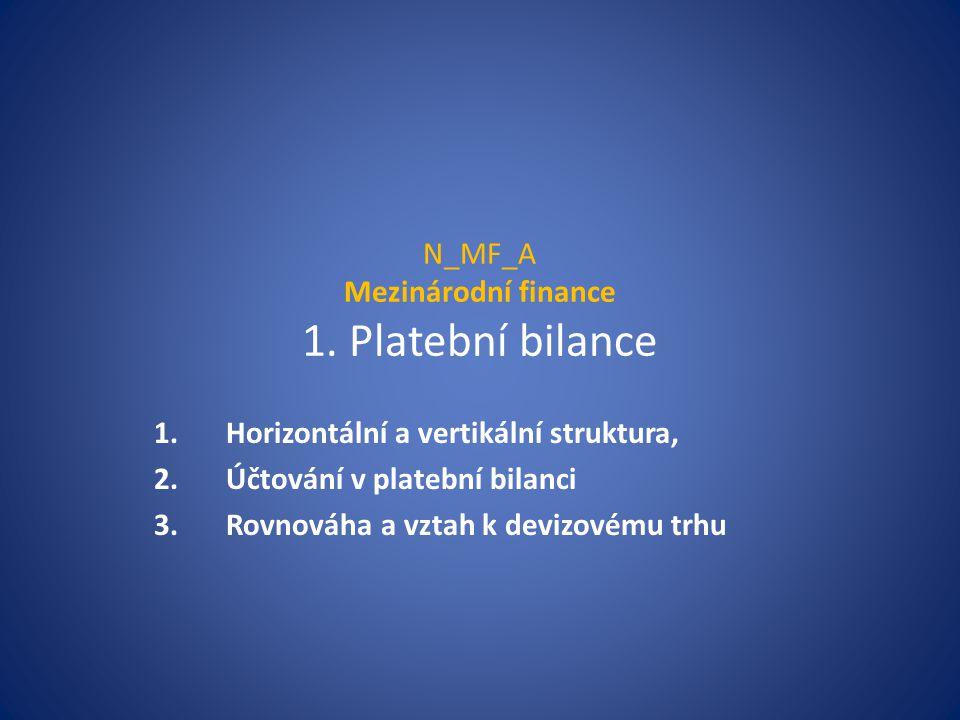 N_MF_A Mezinárodní finance 1. Platební bilance 1.Horizontální a vertikální struktura, 2.Účtování v platební bilanci 3.Rovnováha a vztah k devizovému t