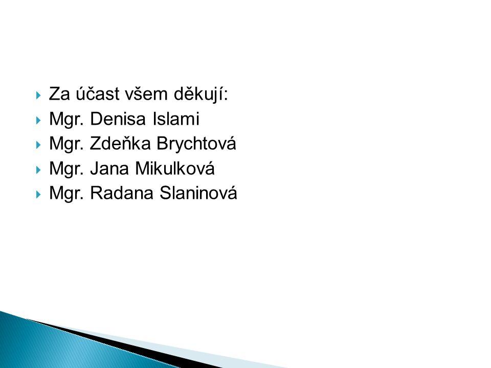  Za účast všem děkují:  Mgr. Denisa Islami  Mgr. Zdeňka Brychtová  Mgr. Jana Mikulková  Mgr. Radana Slaninová