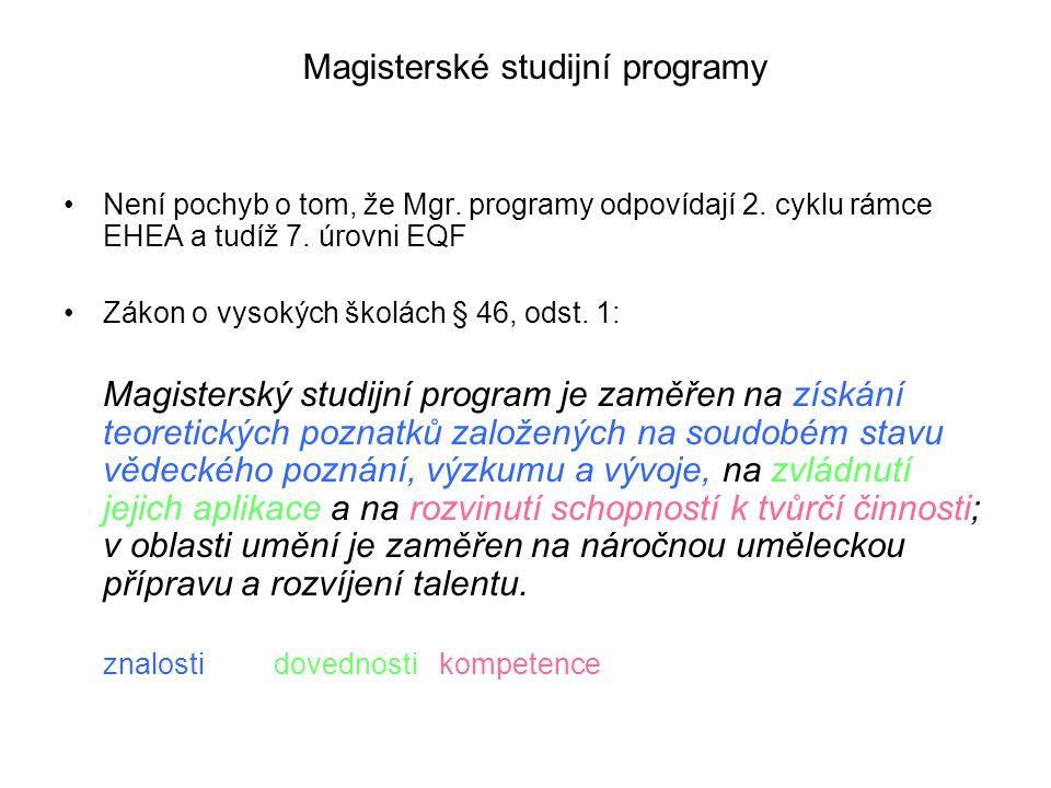 Magisterské studijní programy Není pochyb o tom, že Mgr.