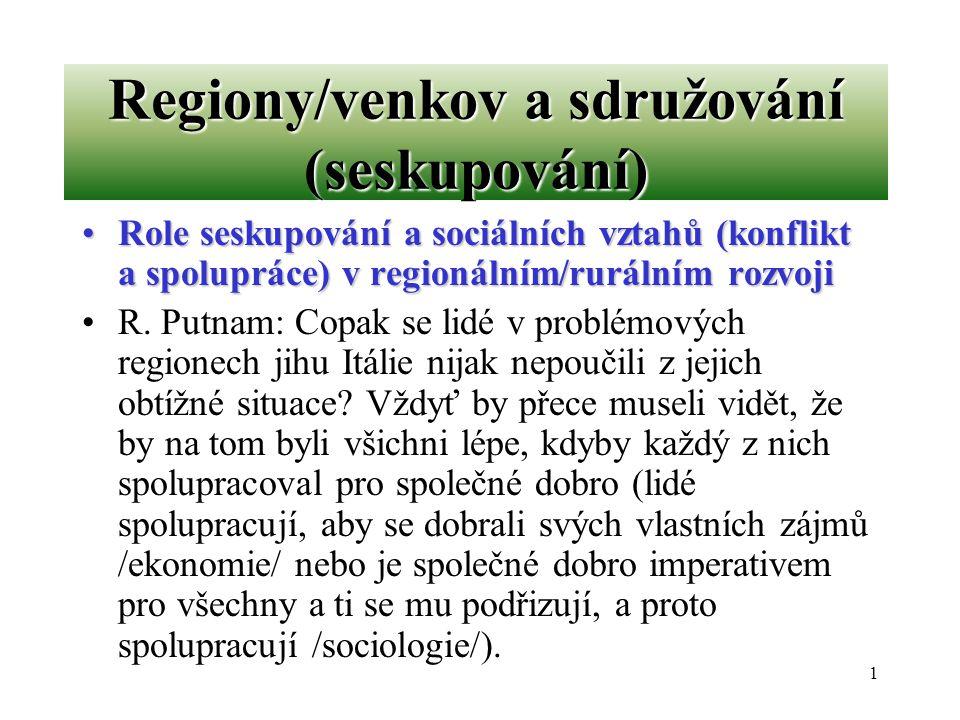 1 Regiony/venkov a sdružování (seskupování) Role seskupování a sociálních vztahů (konflikt a spolupráce) v regionálním/rurálním rozvojiRole seskupován