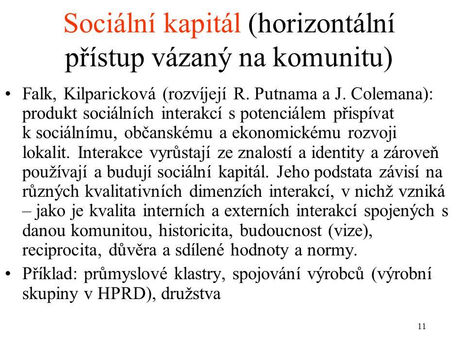 11 Sociální kapitál (horizontální přístup vázaný na komunitu) Falk, Kilparicková (rozvíjejí R. Putnama a J. Colemana): produkt sociálních interakcí s