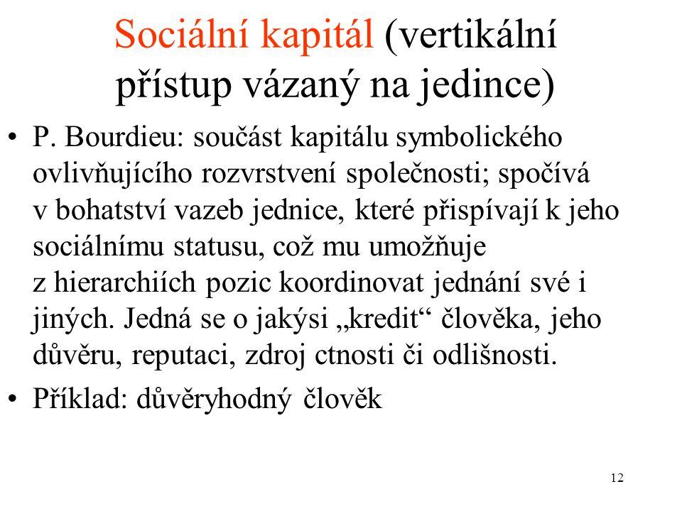 12 Sociální kapitál (vertikální přístup vázaný na jedince) P. Bourdieu: součást kapitálu symbolického ovlivňujícího rozvrstvení společnosti; spočívá v