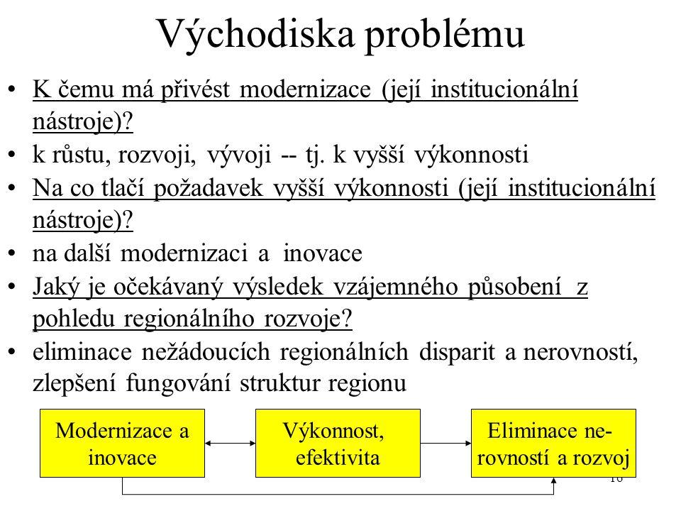 16 Východiska problému K čemu má přivést modernizace (její institucionální nástroje)? k růstu, rozvoji, vývoji -- tj. k vyšší výkonnosti Na co tlačí p