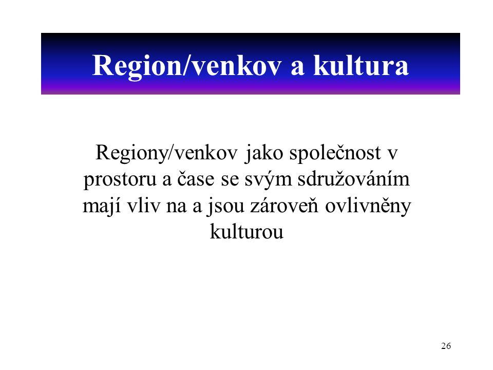 26 Region/venkov a kultura Regiony/venkov jako společnost v prostoru a čase se svým sdružováním mají vliv na a jsou zároveň ovlivněny kulturou