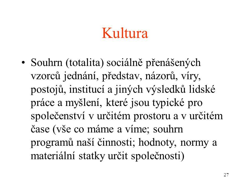 27 Kultura Souhrn (totalita) sociálně přenášených vzorců jednání, představ, názorů, víry, postojů, institucí a jiných výsledků lidské práce a myšlení,