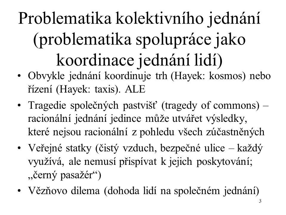 3 Problematika kolektivního jednání (problematika spolupráce jako koordinace jednání lidí) Obvykle jednání koordinuje trh (Hayek: kosmos) nebo řízení