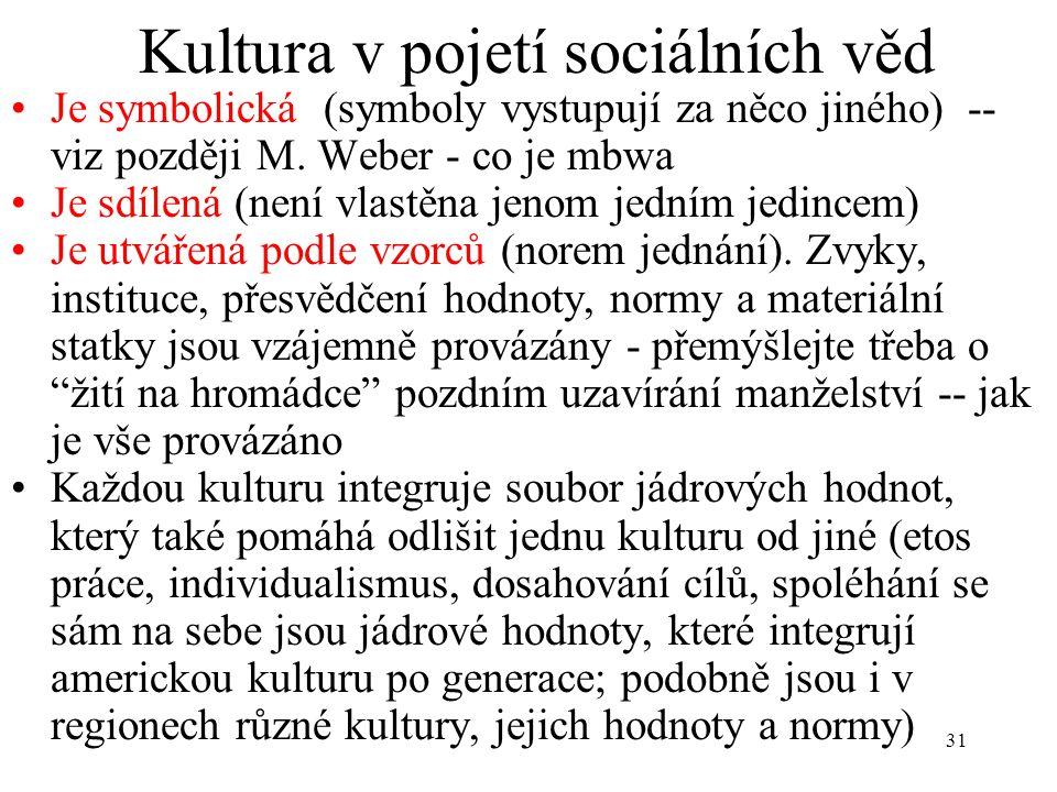 31 Kultura v pojetí sociálních věd Je symbolická (symboly vystupují za něco jiného) -- viz později M. Weber - co je mbwa Je sdílená (není vlastěna jen