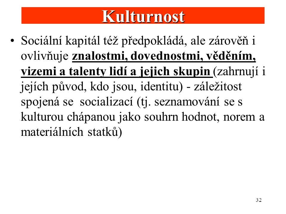 32 Kulturnost Sociální kapitál též předpokládá, ale zárověň i ovlivňuje znalostmi, dovednostmi, věděním, vizemi a talenty lidí a jejich skupin (zahrnu