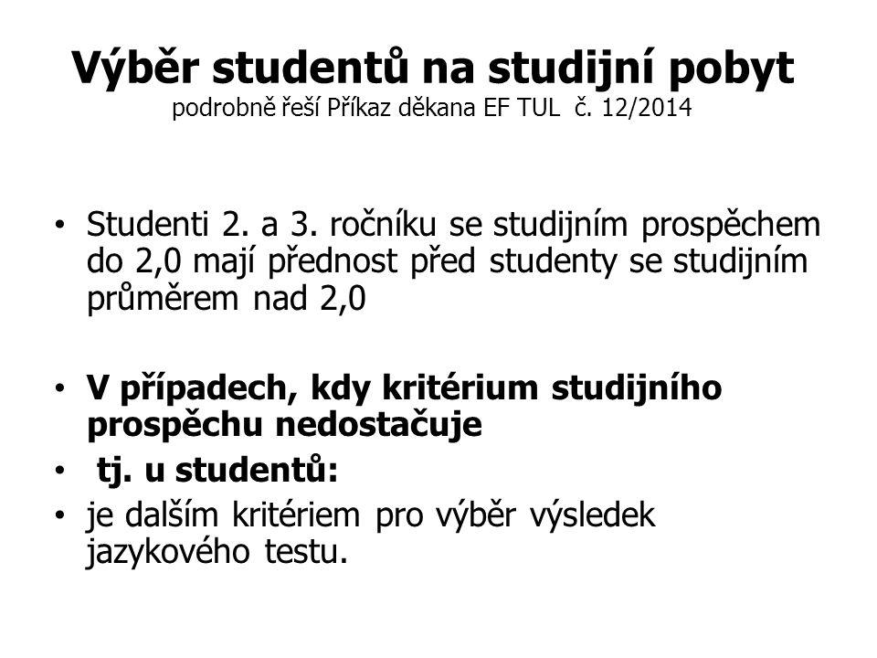 Výběr studentů na studijní pobyt podrobně řeší Příkaz děkana EF TUL č.