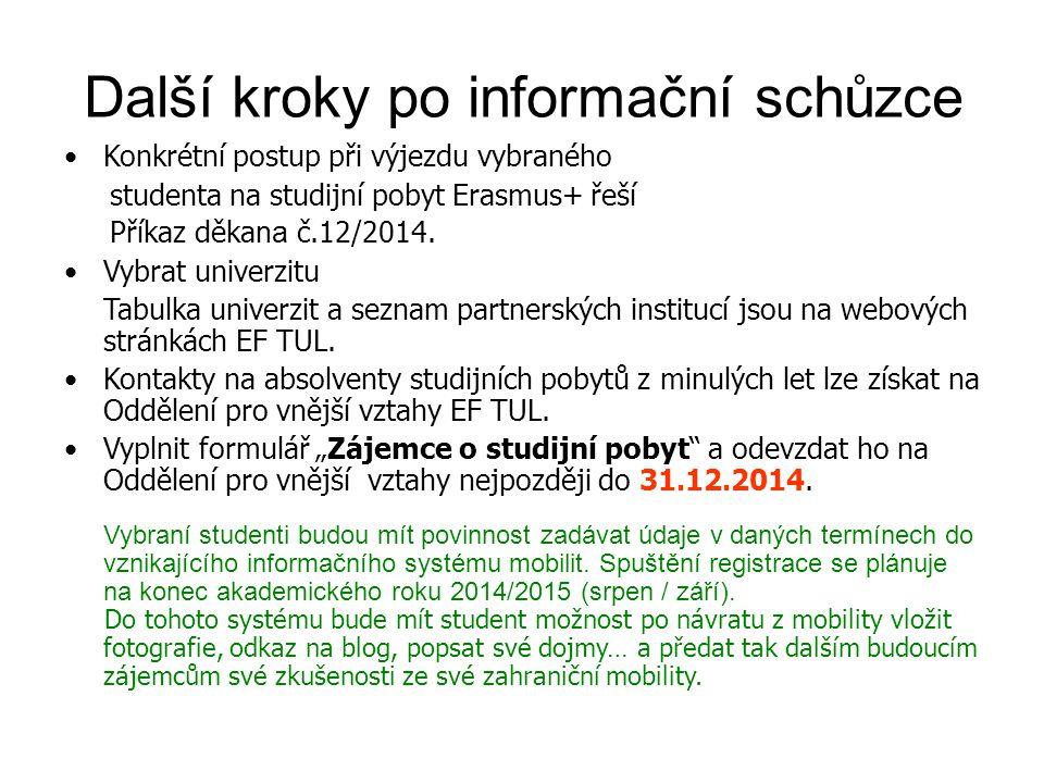 Konkrétní postup při výjezdu vybraného studenta na studijní pobyt Erasmus+ řeší Příkaz děka na č.12/2014.