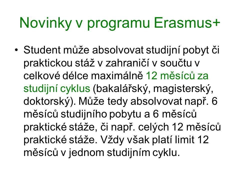 Novinky v programu Erasmus+ Student může absolvovat studijní pobyt či praktickou stáž v zahraničí v součtu v celkové délce maximálně 12 měsíců za studijní cyklus (bakalářský, magisterský, doktorský).
