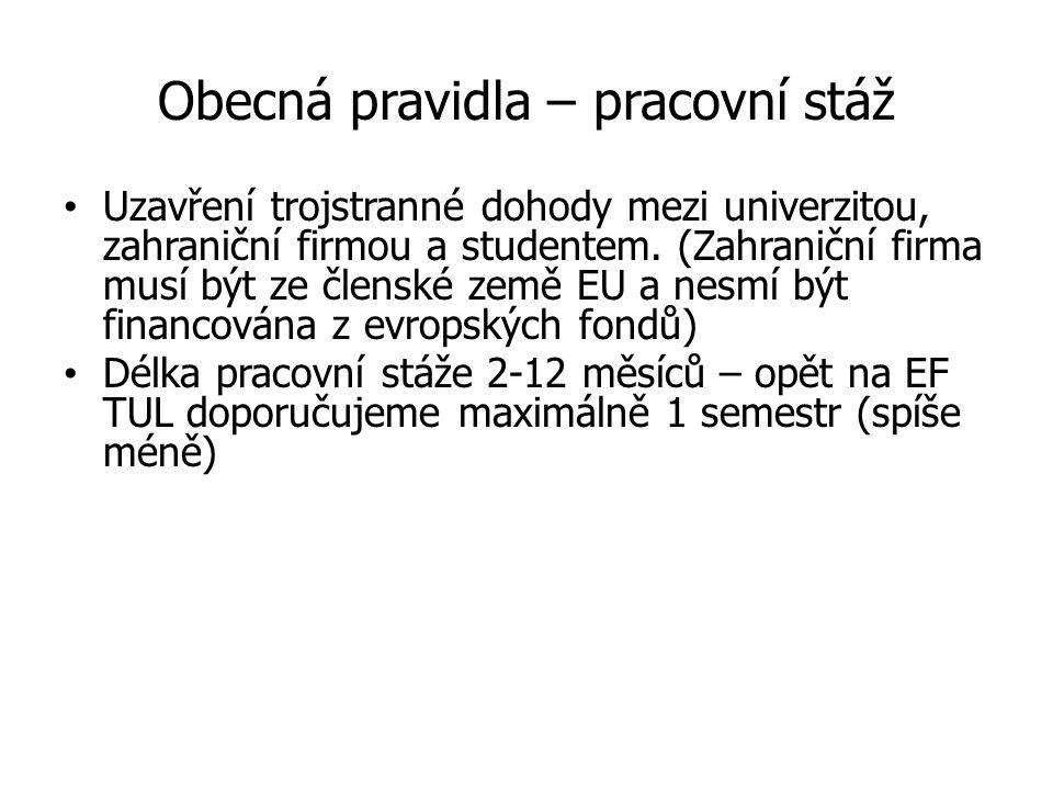 Přehled spolupracujících univerzit v programu Erasmus+ s EF TUL
