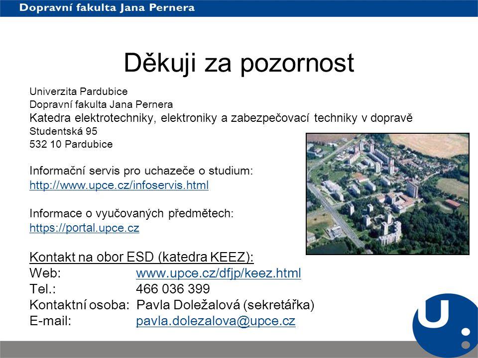Děkuji za pozornost Univerzita Pardubice Dopravní fakulta Jana Pernera Katedra elektrotechniky, elektroniky a zabezpečovací techniky v dopravě Student