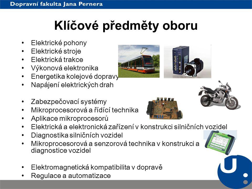 Klíčové předměty oboru Elektrické pohony Elektrické stroje Elektrická trakce Výkonová elektronika Energetika kolejové dopravy Napájení elektrických dr