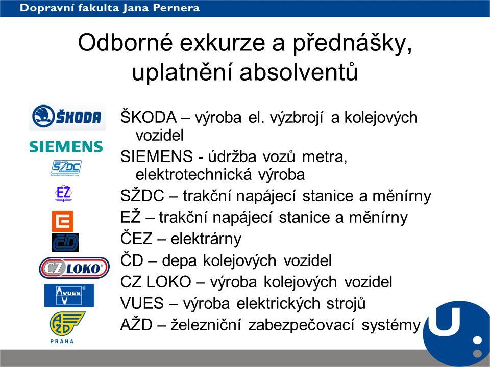 O dborné exkur z e a přednášky, uplatnění absolventů ŠKODA – výroba el. výzbrojí a kolejových vozidel SIEMENS - údržba vozů metra, elektrotechnická vý
