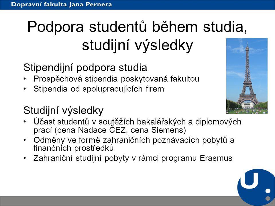 Podpora studentů během studia, studijní výsledky Stipendijní podpora studia Prospěchová stipendia poskytovaná fakultou Stipendia od spolupracujících f