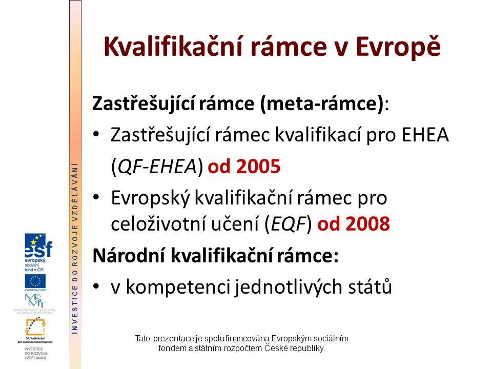 Kvalifikační rámce v Evropě Zastřešující rámce (meta-rámce): Zastřešující rámec kvalifikací pro EHEA (QF-EHEA) od 2005 Evropský kvalifikační rámec pro celoživotní učení (EQF) od 2008 Národní kvalifikační rámce: v kompetenci jednotlivých států Tato prezentace je spolufinancována Evropským sociálním fondem a státním rozpočtem České republiky.