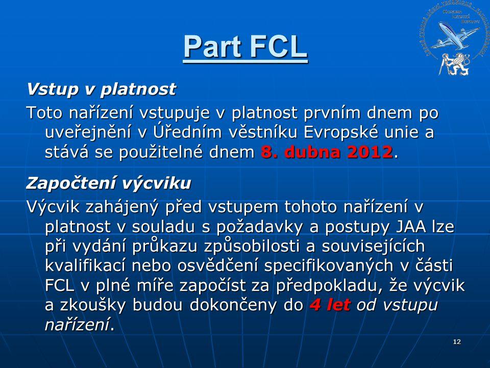 Part FCL Vstup v platnost Toto nařízení vstupuje v platnost prvním dnem po uveřejnění v Úředním věstníku Evropské unie a stává se použitelné dnem 8. d