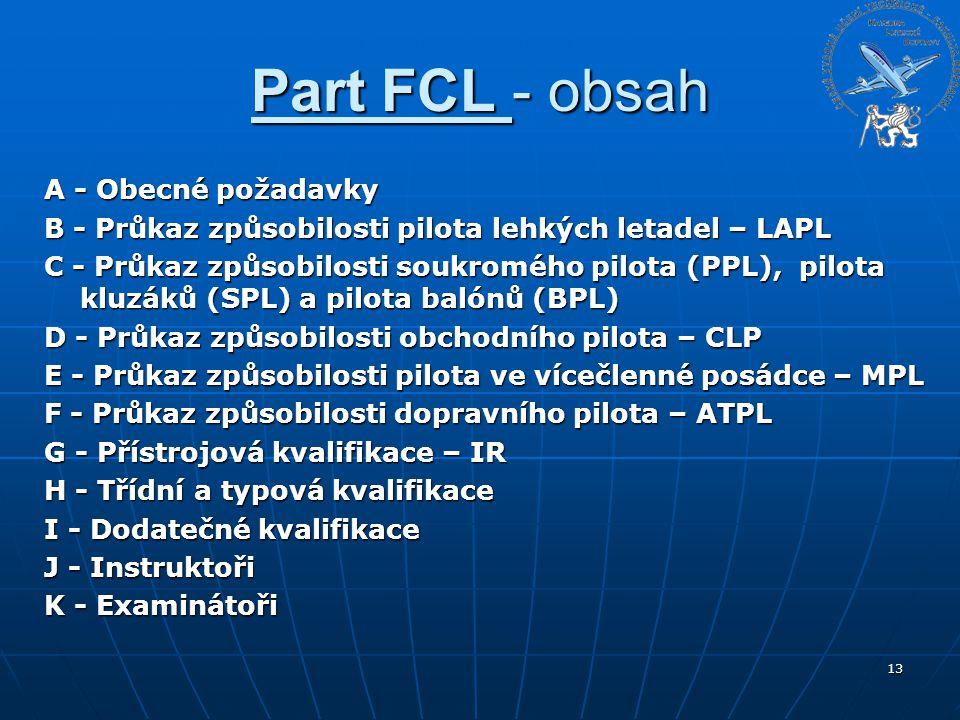 Part FCL - obsah A - Obecné požadavky B - Průkaz způsobilosti pilota lehkých letadel – LAPL C - Průkaz způsobilosti soukromého pilota (PPL), pilota kl