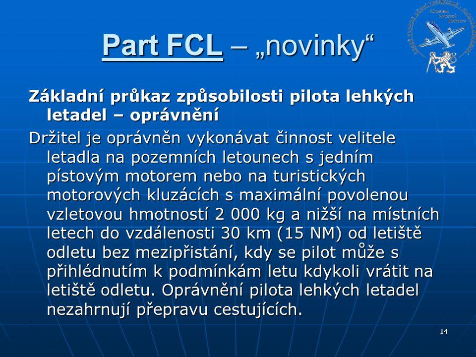"""Part FCL – """"novinky"""" Základní průkaz způsobilosti pilota lehkých letadel – oprávnění Držitel je oprávněn vykonávat činnost velitele letadla na pozemní"""