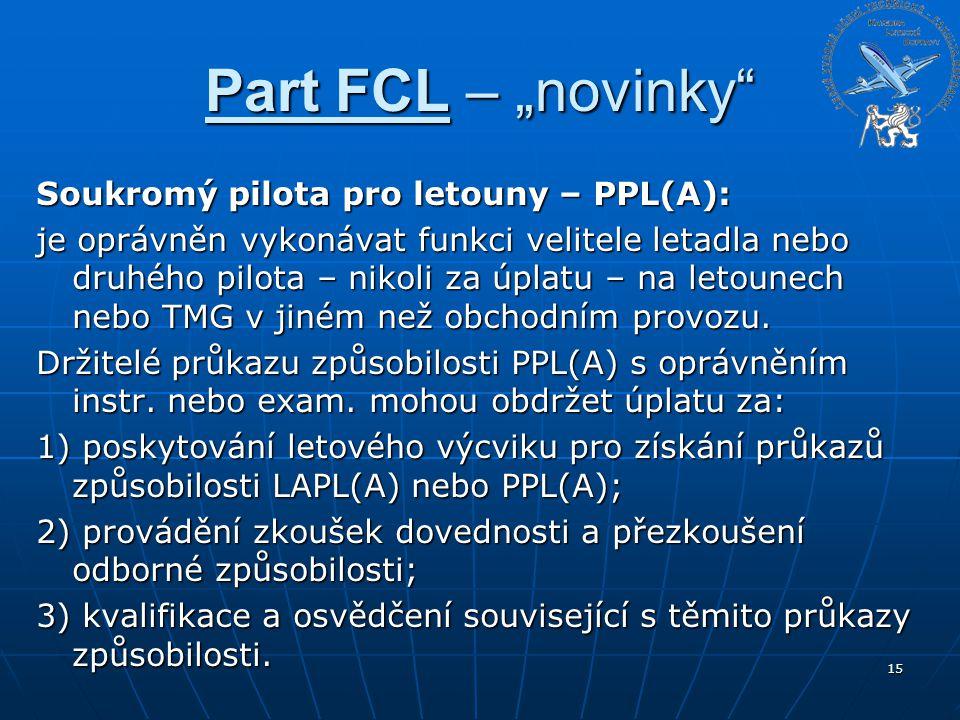 """Part FCL – """"novinky"""" Soukromý pilota pro letouny – PPL(A): je oprávněn vykonávat funkci velitele letadla nebo druhého pilota – nikoli za úplatu – na l"""