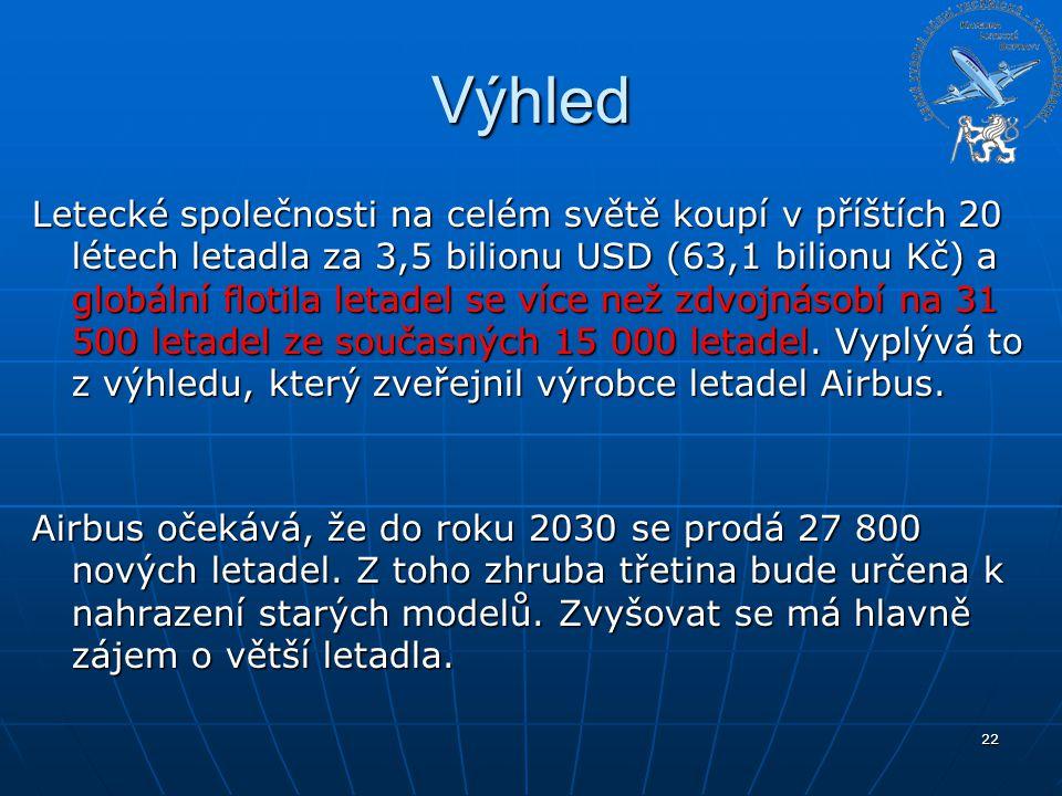 Výhled Letecké společnosti na celém světě koupí v příštích 20 létech letadla za 3,5 bilionu USD (63,1 bilionu Kč) a globální flotila letadel se více n