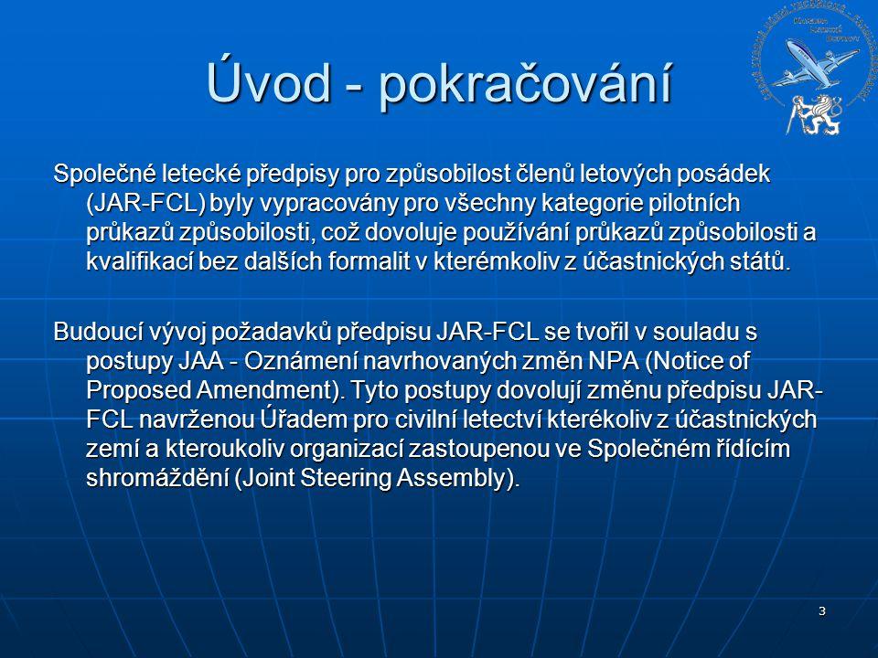 3 Úvod - pokračování Společné letecké předpisy pro způsobilost členů letových posádek (JAR-FCL) byly vypracovány pro všechny kategorie pilotních průka
