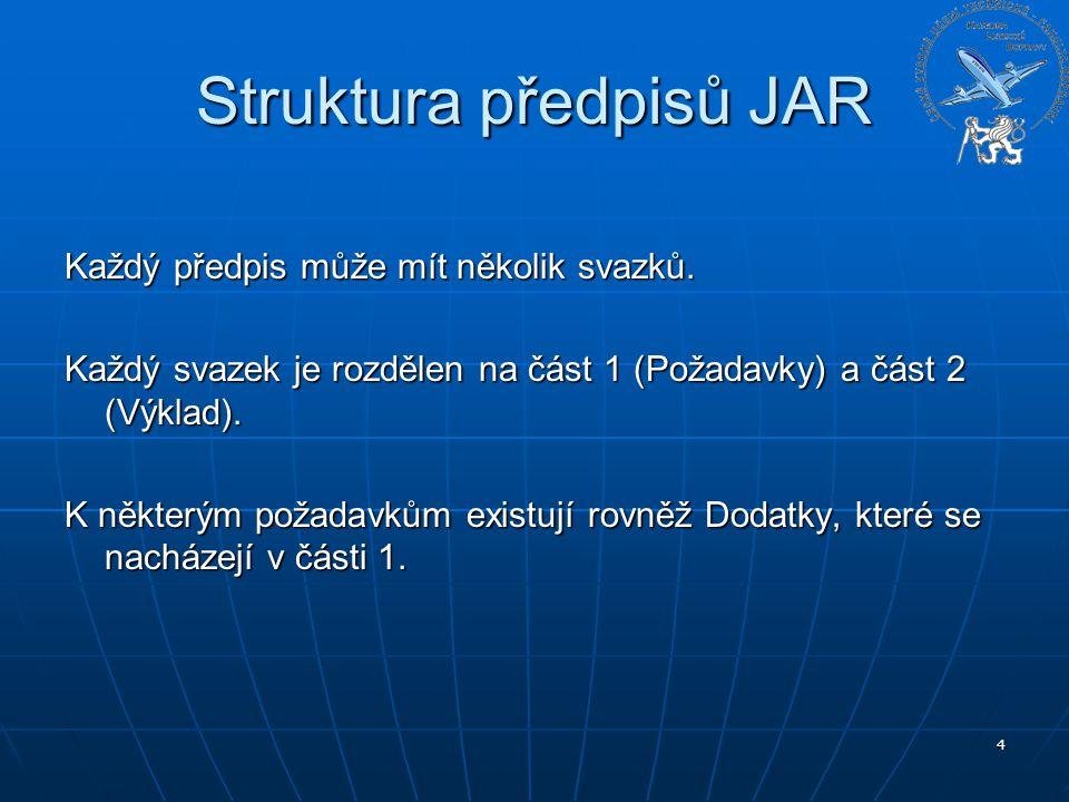 4 Struktura předpisů JAR Každý předpis může mít několik svazků. Každý svazek je rozdělen na část 1 (Požadavky) a část 2 (Výklad). K některým požadavků