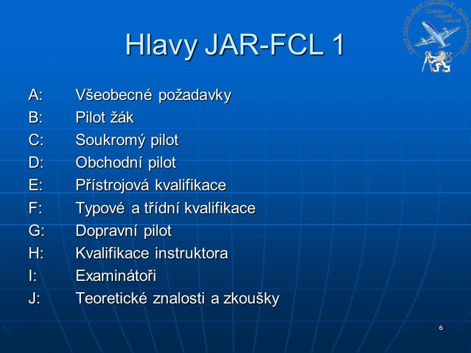 6 Hlavy JAR-FCL 1 A: Všeobecné požadavky B: Pilot žák C:Soukromý pilot D:Obchodní pilot E:Přístrojová kvalifikace F:Typové a třídní kvalifikace G:Dopr