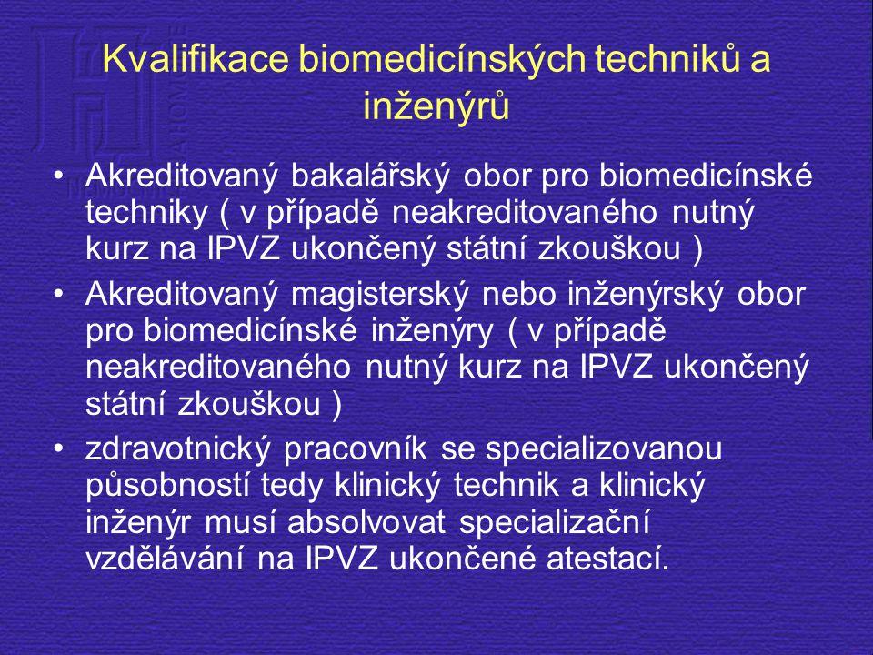 Kvalifikace biomedicínských techniků a inženýrů Akreditovaný bakalářský obor pro biomedicínské techniky ( v případě neakreditovaného nutný kurz na IPV