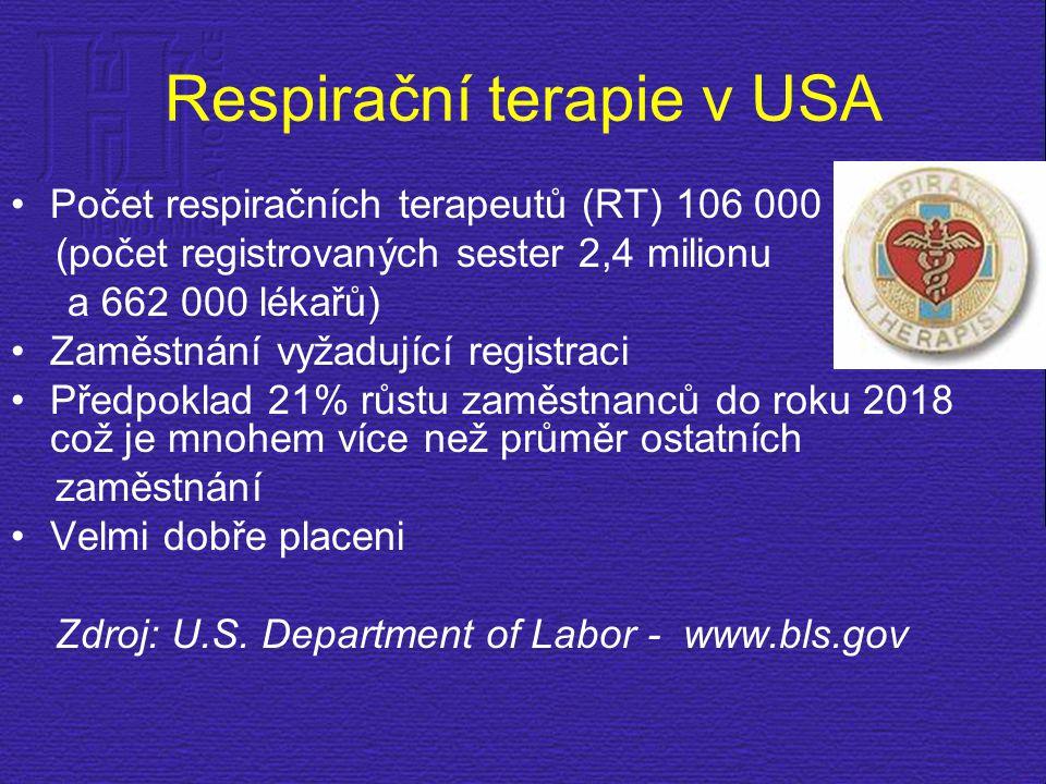 Respirační terapie v USA Počet respiračních terapeutů (RT) 106 000 (počet registrovaných sester 2,4 milionu a 662 000 lékařů) Zaměstnání vyžadující re