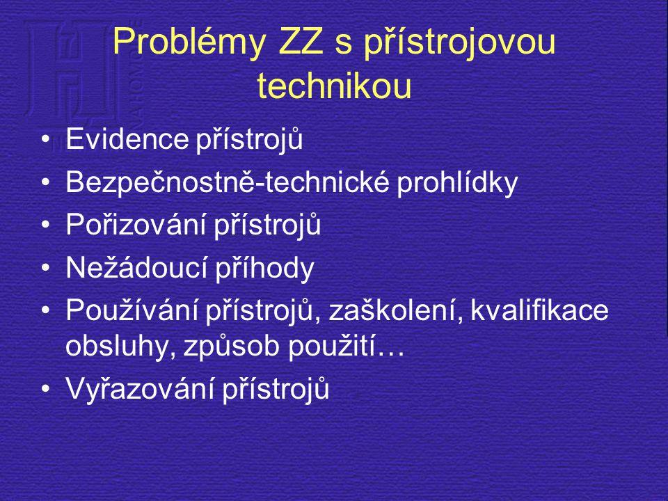 Problémy ZZ s přístrojovou technikou Evidence přístrojů Bezpečnostně-technické prohlídky Pořizování přístrojů Nežádoucí příhody Používání přístrojů, z