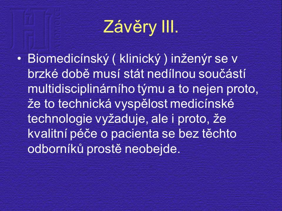 Závěry III. Biomedicínský ( klinický ) inženýr se v brzké době musí stát nedílnou součástí multidisciplinárního týmu a to nejen proto, že to technická