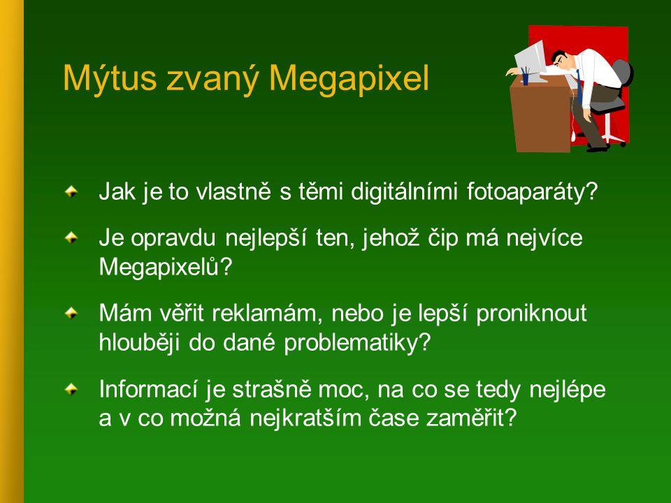 Mýtus zvaný Megapixel Jak je to vlastně s těmi digitálními fotoaparáty? Je opravdu nejlepší ten, jehož čip má nejvíce Megapixelů? Mám věřit reklamám,