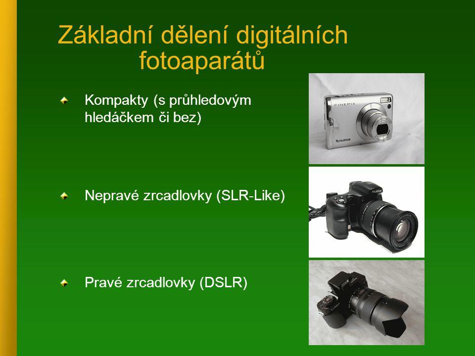 Základní dělení digitálních fotoaparátů Kompakty (s průhledovým hledáčkem či bez) Nepravé zrcadlovky (SLR-Like) Pravé zrcadlovky (DSLR)
