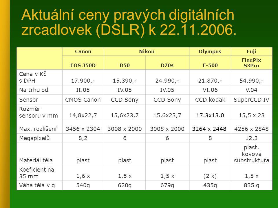 Aktuální ceny pravých digitálních zrcadlovek (DSLR) k 22.11.2006. CanonNikonOlympusFuji EOS 350DD50D70sE-500 FinePix S3Pro Cena v Kč s DPH17.900,-15.3