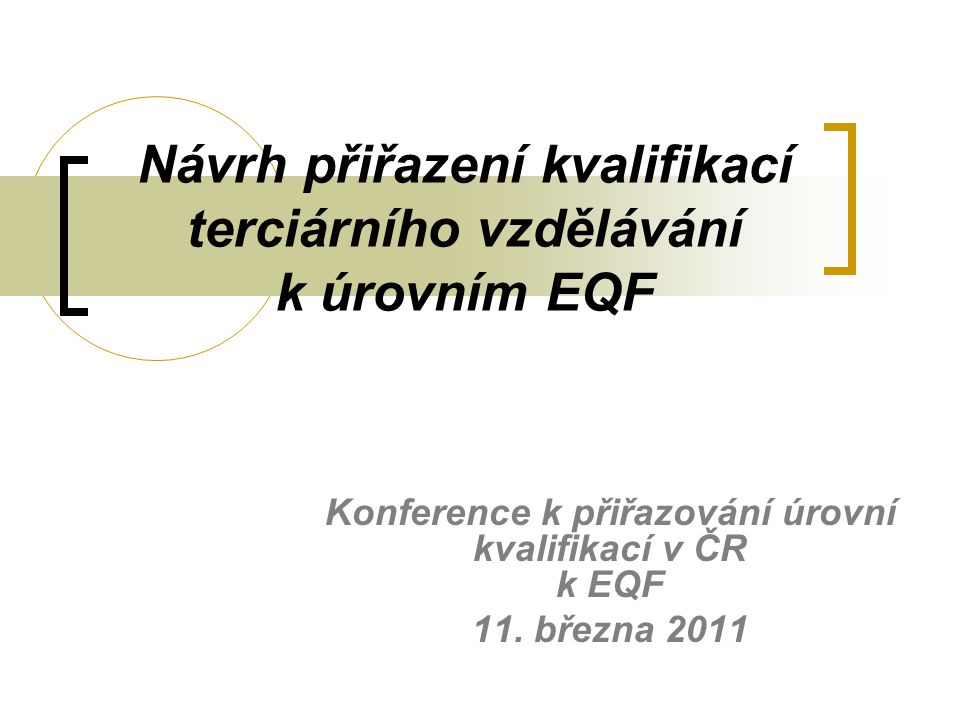 Návrh přiřazení kvalifikací terciárního vzdělávání k úrovním EQF Konference k přiřazování úrovní kvalifikací v ČR k EQF 11.