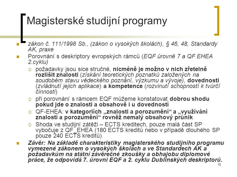 16 Magisterské studijní programy zákon č.
