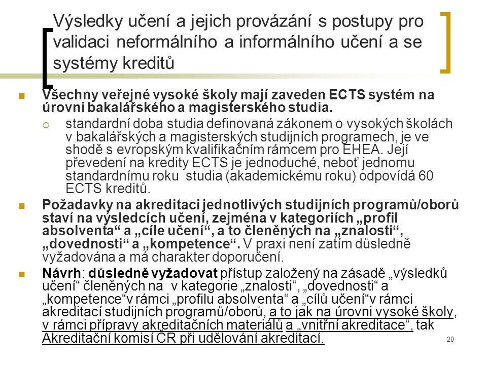 20 Výsledky učení a jejich provázání s postupy pro validaci neformálního a informálního učení a se systémy kreditů Všechny veřejné vysoké školy mají zaveden ECTS systém na úrovni bakalářského a magisterského studia.