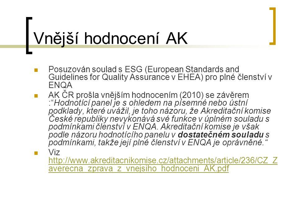 Vnější hodnocení AK Posuzován soulad s ESG (European Standards and Guidelines for Quality Assurance v EHEA) pro plné členství v ENQA AK ČR prošla vnějším hodnocením (2010) se závěrem : Hodnotící panel je s ohledem na písemné nebo ústní podklady, které uvážil, je toho názoru, že Akreditační komise České republiky nevykonává své funkce v úplném souladu s podmínkami členství v ENQA.