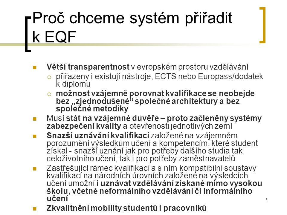 """Proč chceme systém přiřadit k EQF Větší transparentnost v evropském prostoru vzdělávání  přiřazeny i existují nástroje, ECTS nebo Europass/dodatek k diplomu  možnost vzájemně porovnat kvalifikace se neobejde bez """"zjednodušené společné architektury a bez společné metodiky Musí stát na vzájemné důvěře – proto začleněny systémy zabezpečení kvality a otevřenosti jednotlivých zemí Snazší uznávání kvalifikací založené na vzájemném porozumění výsledkům učení a kompetencím, které student získal - snazší uznání jak pro potřeby dalšího studia tak celoživotního učení, tak i pro potřeby zaměstnavatelů Zastřešující rámec kvalifikací a s ním kompatibilní soustavy kvalifikací na národních úrovních založené na výsledcích učení umožní i uznávat vzdělávání získané mimo vysokou školu, včetně neformálního vzdělávání či informálního učení Zkvalitnění mobility studentů i pracovníků 3"""