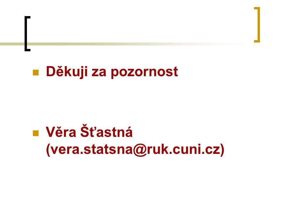 Děkuji za pozornost Věra Šťastná (vera.statsna@ruk.cuni.cz)