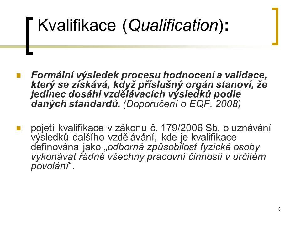 6 Kvalifikace (Qualification): Formální výsledek procesu hodnocení a validace, který se získává, když příslušný orgán stanoví, že jedinec dosáhl vzdělávacích výsledků podle daných standardů.