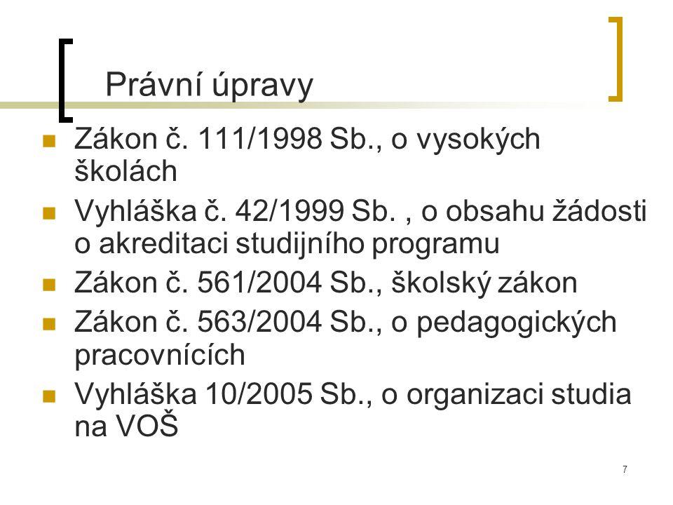 7 Právní úpravy Zákon č. 111/1998 Sb., o vysokých školách Vyhláška č.