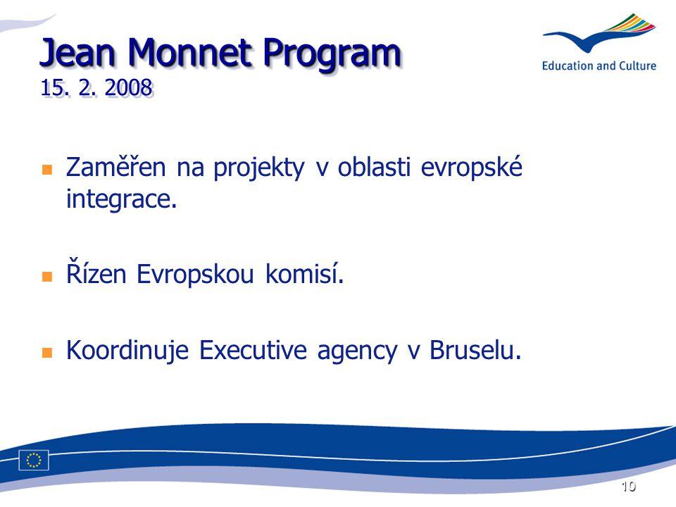 10 Jean Monnet Program Jean Monnet Program 15. 2. 2008 Zaměřen na projekty v oblasti evropské integrace. Řízen Evropskou komisí. Koordinuje Executive