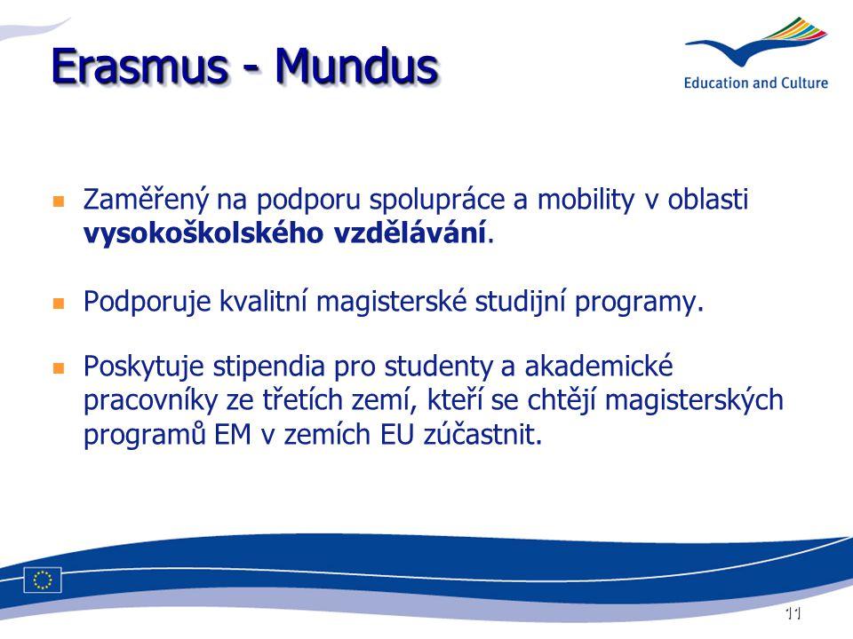 11 Erasmus - Mundus Zaměřený na podporu spolupráce a mobility v oblasti vysokoškolského vzdělávání. Podporuje kvalitní magisterské studijní programy.